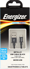 2x Energizer Hightech Metallic Strengthened Micro-usb Cable 1.2m Black