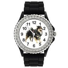 Finnish Lapphund Dog Crystal Rhinestone Mens Ladies Jelly Silicone Watch SG303P