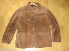 Giacca A Gallery Company Women Large Brown Leather Coat 100% Leather