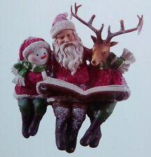 Traditional Father Christmas Snowman & Reindeer Sitting Christmas Ornament