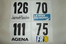(7) 4 ANCIENS DOSSARD DE COUREUR CYCLISTE COURSE TOUR VELO SPONSOR FRANCE 1970