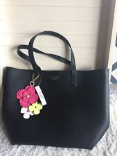 New Victoria's Secret Tease Small Black Tote Bag Crossbody and Flower Bag Charm