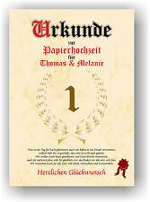 Papierhochzeit Urkunde 1. Hochzeitstag Geschenkidee Liebe Hochzeitsgeschenk NEU