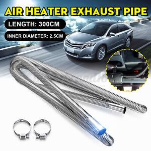 3M 3CM Stainless Steel Exhaust Pipe Hose Parking Air Heater Tank Diesel Vent +