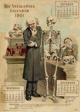 Le professeur et étudiant, ANTIKAMNIA CALENDRIER, 1901. Vintage Anatomy Poster