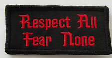 Respect All Fear None Embroidered Biker Patch Iron On Sew On Military Tactical