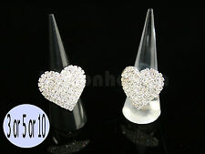 3/5/10Pcs Ring Display Studs Holder Cone Shape Acrylic Black/Clear/White