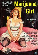 AD45 Vintage 1950's Marijuana GIRL droghe ROMANZO POSTER A4 re-print