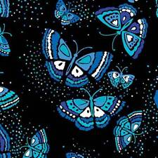 Black/Blue Island Butterfly 100% Cotton Fabric KANVAS sold by the yard.