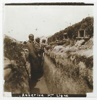 Aubérive Trench Guerre 14-18 Francia Foto Stereo PL46Th2n2 Placca Vintage