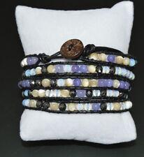 Luxus Lederarmband Wickelarmband Edelstein Perlen 5 Wrap Sürf  Paris Armband