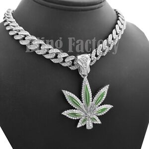 "Marijuana Leaf pendant & 18"" Iced Box Lock Cuban Choker Chain Hip Hop Necklace"