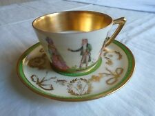 RICHARD WEHSNER DRESDEN BEAUTIFUL HAND PAINTED CUP AND SAUCER. 1890