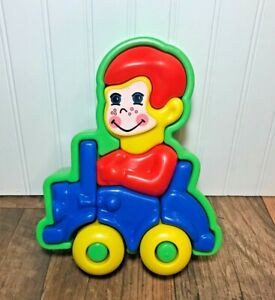 "Vintage Toddler Chunky 3-D Plastic 10"" Car Puzzle, Toy Driving"