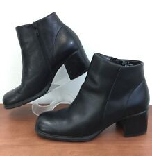 White Mountain Friday Black Leather Ankle Boot Side Zip Cushioned Womens 6.5 M