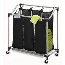 Laundry-Sorter-Clothes-Hamper-Cart-Black-Organizer-Triple-Bin-3-Compartment-NEW