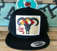 Lazy J Ranch Wear Black and Black skull & flowers cap  Snapback OSFA
