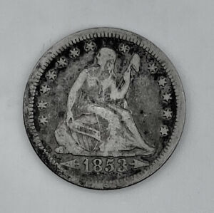 1853 Seated 25c (Quarter) Arrows & Rays Very Good Condition