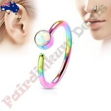 316L Surgical Steel Rainbow Ion Plated Nose Hoop Ring with White Set Opal
