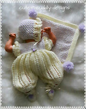 Baby /Reborn doll designer knitting pattern to fit 12 inch reborn/doll