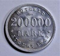 Deutschland NOTGELD Stadt Hamburg 200 000 Mark August 1923 J, prägefrisch Kapsel