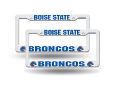 Boise State Broncos NCAA Raised Letter White Plastic License Plate Frame Set