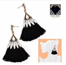 MACKRI Fan Shape Diamond Long Tassel Hook Drop Earrings BLACK