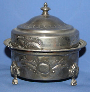 ANTIQUE ISLAMIC METAL FOOTED LIDDED BOWL