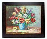 Rose Bouquet Floral Arrangement 20 x 24 Art Oil Painting on Canvas w/Wood Frame