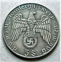 WW2 GERMAN WINTERHILFSWERK COMMEMORATIVE COLLECTORS COIN 5 SCHILLINGS