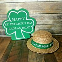 Disney Raglan Road Happy St Patricks Day Straw Hat & Hand Mitt Shamrock Adult
