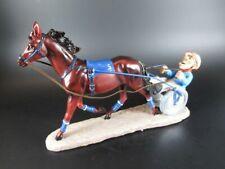 Traber mit Sulky Reiter Pferd Horse Figur Pferdesport 30 cm,Neu