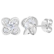925 Sterling Silver Clear CZ Flower Post Stud Earrings for Girls Teens