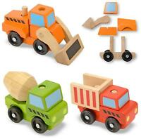 Melissa & Doug STACKING CONSTRUCTION VEHICLES Wooden Toy BN