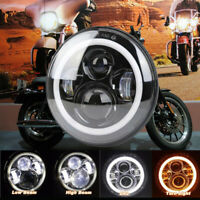 """UK 7"""" Round Motorcycle Hi/Lo Beam LED Headlight Halo Angle Eyes For Harley Jeep"""
