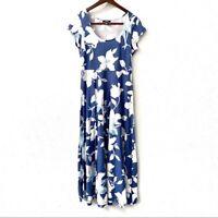 Chaps Floral Scoop Neck Cotton Maxi Dress Women's Size Medium Casual Blue White