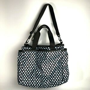 LeSportsac Ryan Baby Bag Diaper Tote with changing pad brown blue dot large