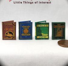 "JULES VERN Set (4) Dollhouse Miniature Books 1"" Scale 1:12 Scale Readable Books"