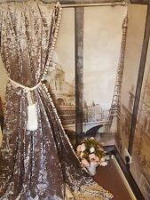 """NEW! Heavy Truffle Brown Crushed Velvet 113""""D52""""W Lined Pom Pom Bay Curtains"""