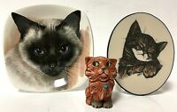 Mixed Feline Cat Home Décor Collection Pot Belly, Staffordshire Dish, and Art