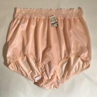 NWT Plus Size Ultra Feminine Peach Nylon Panties w/Luxurious Lace Trim. Size10