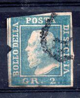 Sicily 1859 2GR blue good margins fine used #13 WS12397