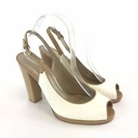 Stuart Weitzman Russell Bromley UK7 Cream Leather Peep Toe Slingback Sandal Shoe