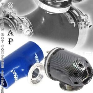 "Turbo Blow Off Valve Jdm Bov Carbon 3"" Inch Reinforce Silicone Adapter Pipe Blue"
