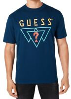 Guess Mens T-Shirt Voyage Blue Large L Triple Triangle Logo Crewneck Tee $39 048