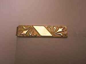 -Scroll Design Gold Tone Vintage TINY SMALL ANSON Tie Bar Clip simple plain