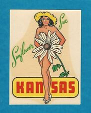 "VINTAGE ORIGINAL 1948 CHARMER ""SUNFLOWER SUE"" MISS KANSAS STATE WATER DECAL ART"
