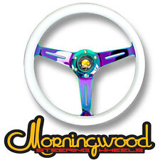 "MORNINGWOOD WHITE/NEO CHROME STEERING WHEEL 350MM/14"" DEEP DISH CLASSIC P11"