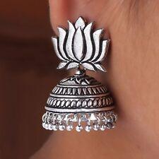 Drop Earrings jhumka jhumki Bollywood Lotus stud Oxidized Silver plated Dangle