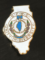 Vintage Collectible GFWC Illinois Federation Womens Colorful Metal Pin Back